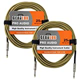 Gearlux 1/4-Inch Instrument Cable - Tweed, 25 Foot, 2 Pack
