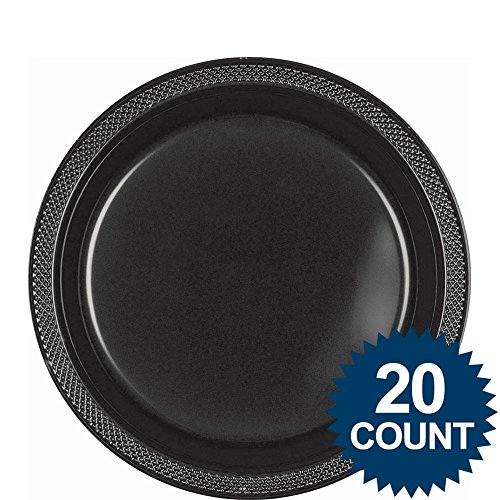 Jet Black 9 Inch Plastic Party Plates