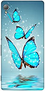Snoogg Blue Butterfly Digital Designer Protective Back Case Cover For Sony Xp...