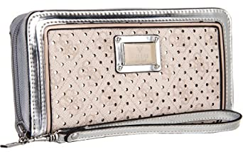 Guess Madaket SLG Zip Around Clutch Wallet, Silver Multi