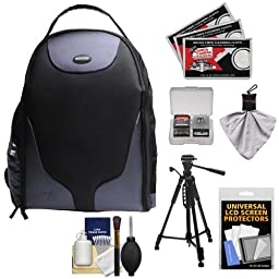 Bower SCB1350 Photo Pack Backpack Digital SLR Camera Case (Black) + Tripod + Accessory Kit for Canon EOS 7D, 70D, 5D Mark II III, Rebel T3, T3i, T4i, T5, T5i, SL1 DSLR Cameras
