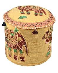 Classic Ottoman Khaki Cotton Elephant Patch Work Pouf Cover By Rajrang