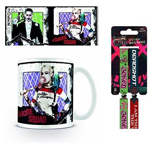 Set: Suicide Squad, Harley Quinn E Joker, Carte Da Gioco Tazza Da Caffè Mug (9x8 cm) E 1 Suicide Squad, Braccialetto (10x2 cm)