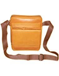 Style98 Genuine Leather Traveller Neck Pouch,Messenger Bag And Passport Sling Bag For Men And Women - Tan