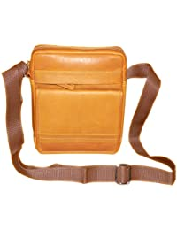 Style98 Premium Quality Leather Travel Messenger/Sling Bag For Men,Women,Boys & Girls - Tan - B01H8YQPA4