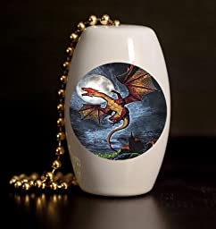 Night Dragon Porcelain Fan / Light Pull
