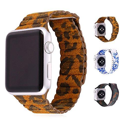 Cinturino Apple Watch 38MM, Bandmax Leopardo Apple Watch Vera Pelle Loop con Unico Magnete di Blocco Strap Replacement Band per Apple Watch Series 1/ Series 2 (Leopardo)