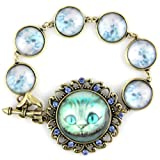 51CPmBLEU8L. SL160  Alice The Cat Blue Ice Crystal Pendant   Heart Bow & Arrow Clasp   Blue Bubble Linked Brass Bracelet