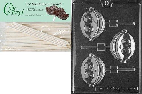 Cybrtrayd 45St25-K103 Baby Boy Lolly Kids Chocolate Candy Mold With 25 Cybrtrayd 4.5-Inch Lollipop Sticks front-961736