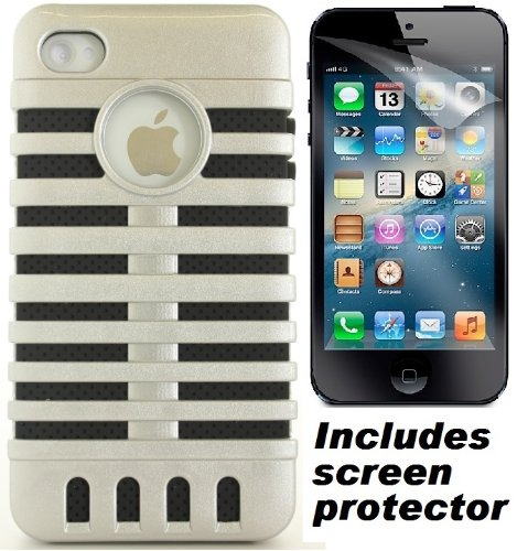 Silver Black Retro Elvis Style Microphone Cover Case & Screen Protector For Apple Iphone 4S 4