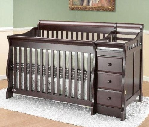 cribs with attached changing table crib 39 n bed michelle with changer espresso espresso 69. Black Bedroom Furniture Sets. Home Design Ideas