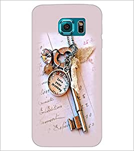 PrintDhaba Antique Key D-2415 Back Case Cover for SAMSUNG GALAXY S6 EDGE (Multi-Coloured)