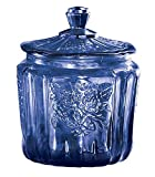 Miles Kimball Cobalt Blue Depression Style Glass Biscuit Jar