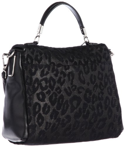 Coach   Coach Madison Leather Small Sadie Flap Satchel Black Chenille Ocelot Handbag
