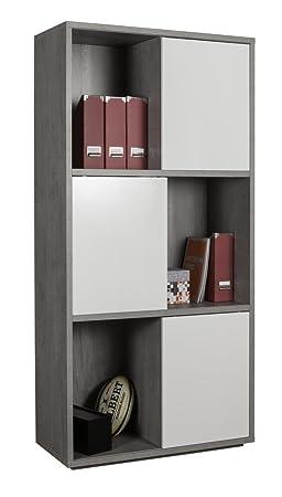 Libreria a sei vani con ante scorrevoli color cemento e bianco laccato lucido