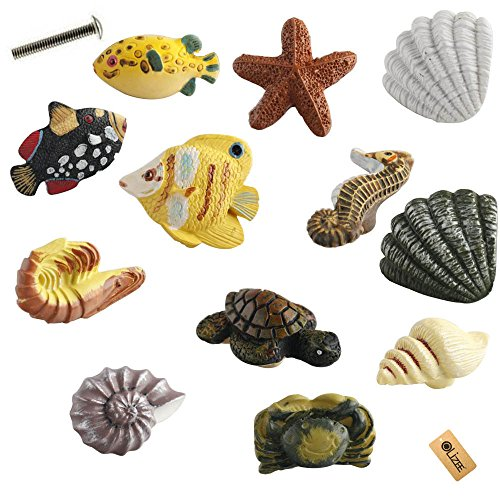 OLizee™ Seashell Nautical Decor Cabinet Knobs for Drawers or Doors SET OF 12 Seashell,Starfish,Fish,Seahorse,Crab,Rock lobster (Seashell Door Knobs compare prices)