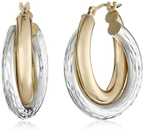 14k-Gold-Bonded-Sterling-Silver-Two-Tone-Hoop-Earrings