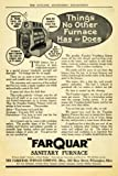 1909 Ad Farquar Sanitary Furnace Home Heating Appliance - Original Print Ad ....
