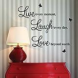 """homeking Co., LTD - Decalcomania da parete con scritta """"Live every moment, Laugh every day, Love beyond words."""" e 2 farfalle"""