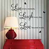 from homeking Live every moment,Laugh every day, Love beyond words. with 2x butterfly wall quote art sticker decal for home bedroom decor corp office wall saying mural wallpaper birthday gift for boys and girls Model s2TOuOJN1*2