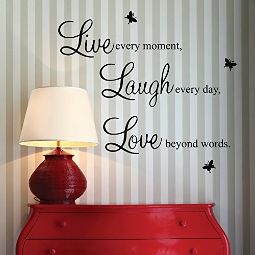 """""""Live every moment,Laugh every day, Love beyond words."""" with 2x butterfly wall quote art sticker decal for home bedroom decor corp office wall saying mural wallpaper birthday gift for boys and girls"""