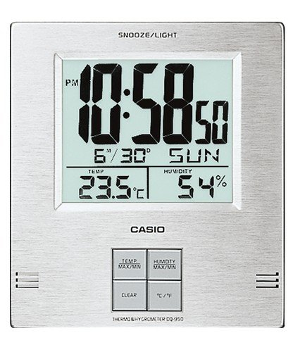 Casio Dq-950 Digital Auto Calendar Thermo Hygrometer Wall Clock with Indoor Temperature Silver Alarm Clock Snooze Battery Included