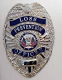"LOSS PREVENTION OFFICER SECURITY GUARD STORE DETECTIVE BADGE SHIELD NICKEL SILVER FINISH 2-1/4"" X 3-1/8"""