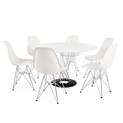 """Noguchi Style 47"""" Large Size Cyclone Table & 6 Green Eames Style DSR Chairs"""
