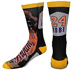 Kobe Bryant LA Lakers NBA Player Sublimation Mesh Crew Socks(1 Pair)-Size- Mens Large... by For Bare Feet