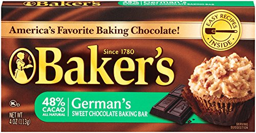 Baker's German's Sweet Chocolate Baking Bar, 4 Ounce (Pack of 12) (German Baking Products compare prices)