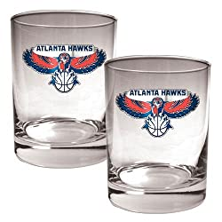 Atlanta Hawks NBA 2pc Rocks Glass Set - Primary Logo