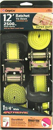 Allied International 84004 CargoLoc 12-Foot-by-1-1/4-Inch Extreme Super Duty Ratchet Tie Downs, 2-Pack
