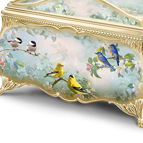 Joe Hautman Songbird Artwork Porcelain Music Box with 22K Gold Sentiment by The Bradford Exchange 2