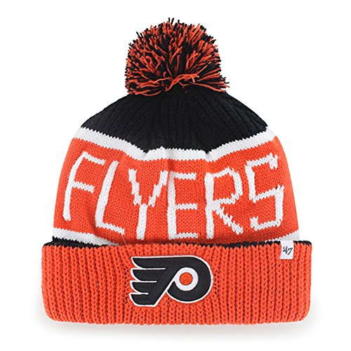 NHL Philadelphia Flyers '47 Brand Calgary Cuff Knit Hat with Pom, Black, One Size