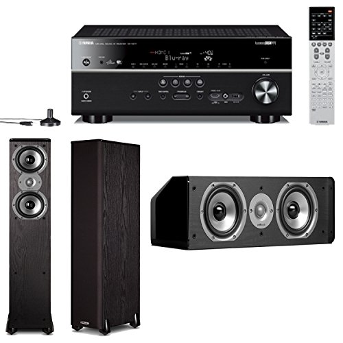 Yamaha Rx-V677 7.2-Channel Wi-Fi Network Av Receiver Plus A Pair Of Polk Audio Tsi 300 Tower Speakers & A Polk Audio Cs10 Center Channel Speaker