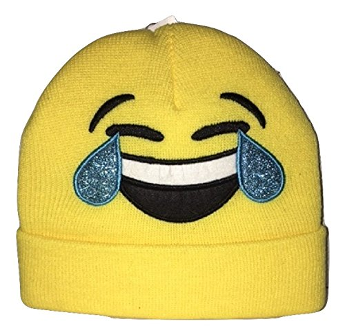 [Cry Laughing Emoji Knit Cap - Fun - USA Seller - FAST Shipping - Holiday Gift Idea] (Homemade Halloween Card Ideas)