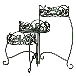 Panacea Products 3-Tiered Folding Scroll  and  Ivy Plant Stand Black