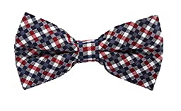 Scott Allan Mens 100% Silk Checkered Bow Tie - Red/White/Blue