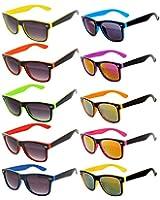 New Stylish Retro Vintage Wayfarer Two -Tone Sunglasses Multicolor Mirror Lens