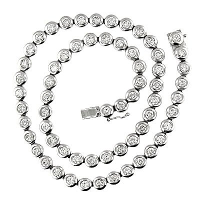 11.82 CT WHITE GOLD DIAMOND BEZEL TENNIS NECKLACE