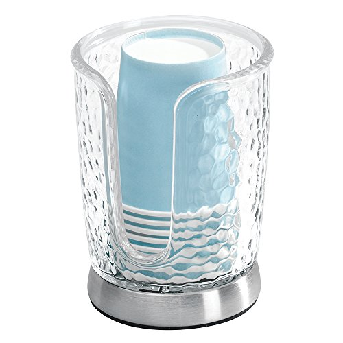 InterDesign-Rain-Disposable-Paper-Cup-Dispenser-for-Bathroom-Countertops-Clear