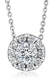 "0.50ctw Round Brilliant Diamond 14K White Gold Halo Pendant on 16"" Chain"