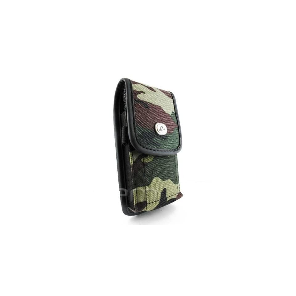 Vertical Camouflage Designed Velcro Carrying Case Holster Cover Side Pouch with Belt Loop and Metal Clip for Sprint Motorola XPRT   Samsung Epic 4G   Samsung Galaxy S Pro Notion   Samsung Replenish SPH M580   ZTE Fury N850   Straight Talk LG Optimus Black