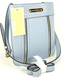 New Michael Kors Logo Purse Cross Body Hand Bag Genuine Leather Pale Blue Moxley