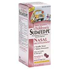 Sudafed PE Children's Nasal Decongestant, 2.5 mg, Liquid, Raspberry Flavor, 4 fl oz (118 ml)