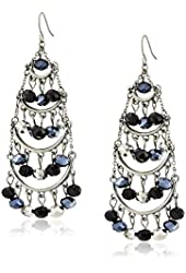 "Carolee ""Flower District Jet"" Chandelier Pierced Earrings"