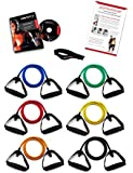 *** LIFETIME REPLACEMENT WARRANTY *** Ripcords Exercise Bands - Black Sniper Edition 6 pack with Circuit 7 DVD, Travel Bag, Door Anchor and Manual