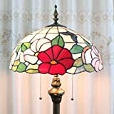 Tiffany 16-inch European-style stained glass floor lamp 3 light bulbs