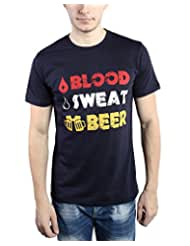 TOMO Men's Cotton Navy Blue Color Round Neck BLOOD SWEAT BEER Printed T-shirt