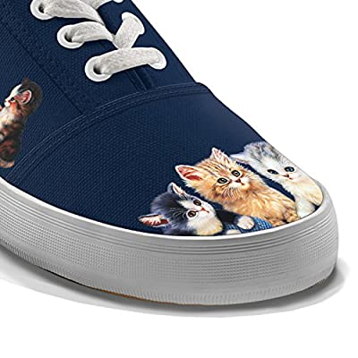 Jurgen Scholz Kitty-Kat Cute Women's Canvas Cat Art Shoes by The Bradford Exchange